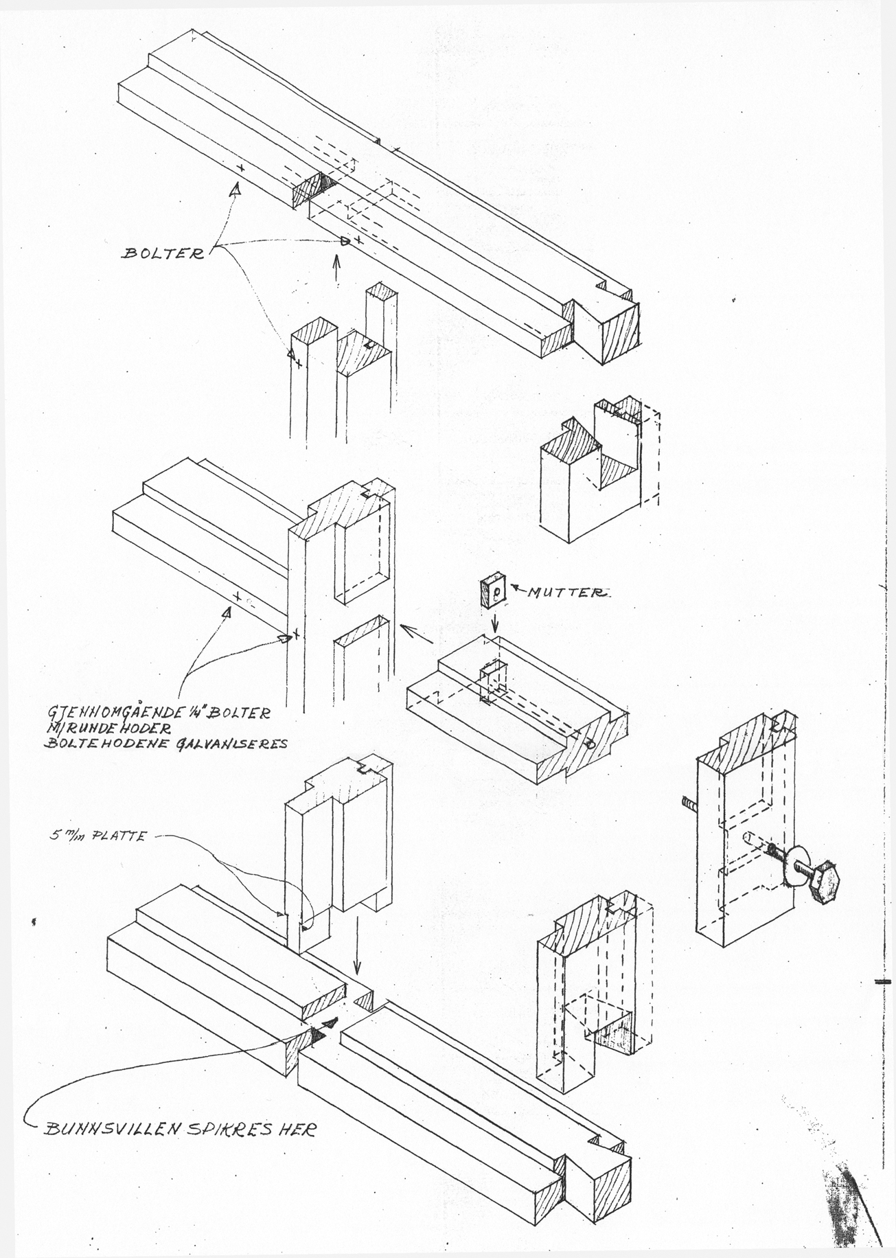 Detail of the construction documents for Norberg-Schulz and Korsmo's Planetveien houses specifying to the carpenters how the intricate joinery of the wooden structure was to be hewn and assembled.