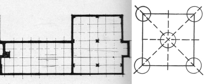 "On the right is the ""Structural skeleton"" of a square, drawn by Norberg-Schulz after Rudolph Arnheim, and published in _Intentions in Architecture_. Compare this diagram to the position of the steel columns in Planetveien 14 (left), as published in _Byggekunst_ (1955)."