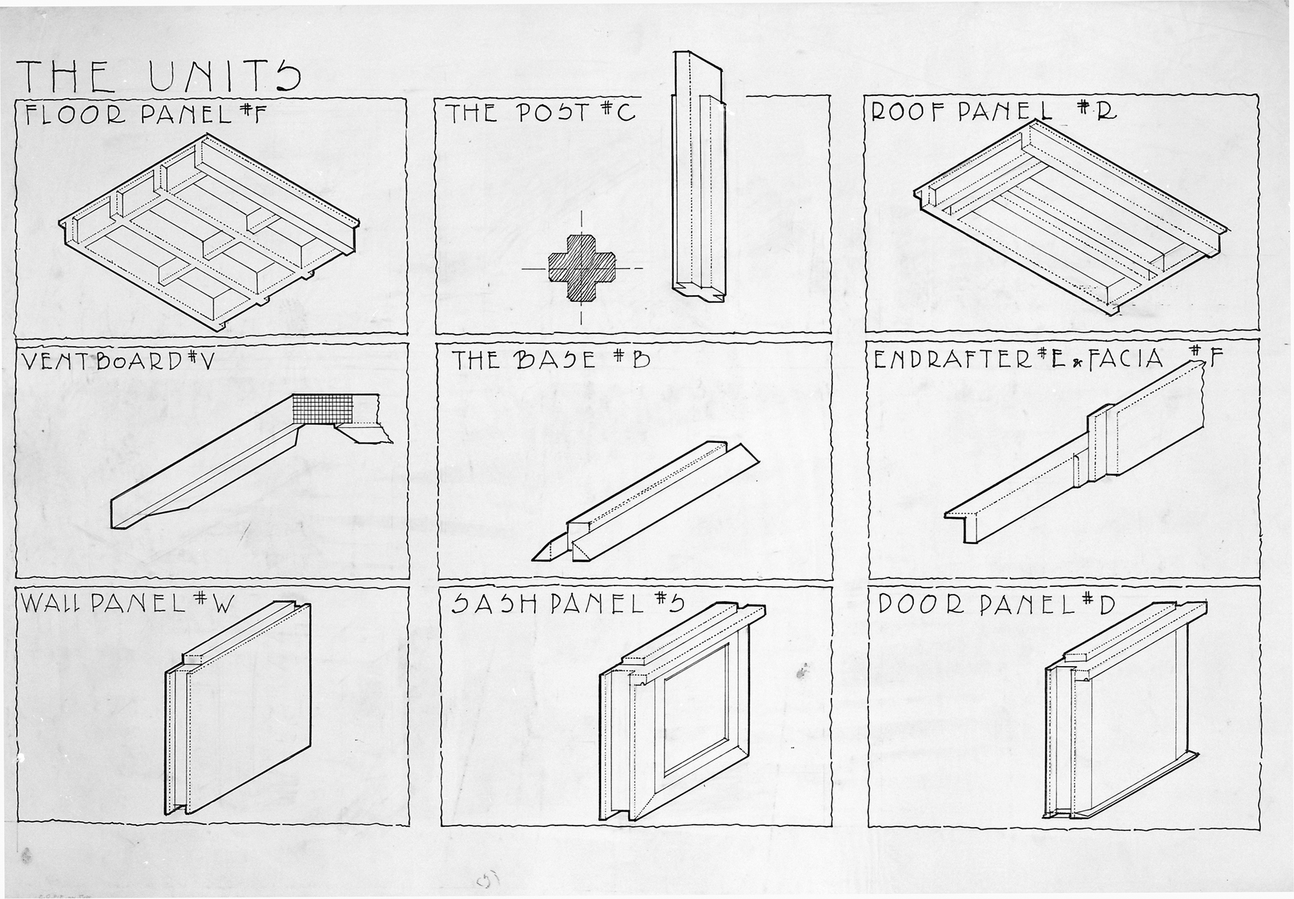 Rudolph Schindler's drawing of the elements in the panel-post construction system.