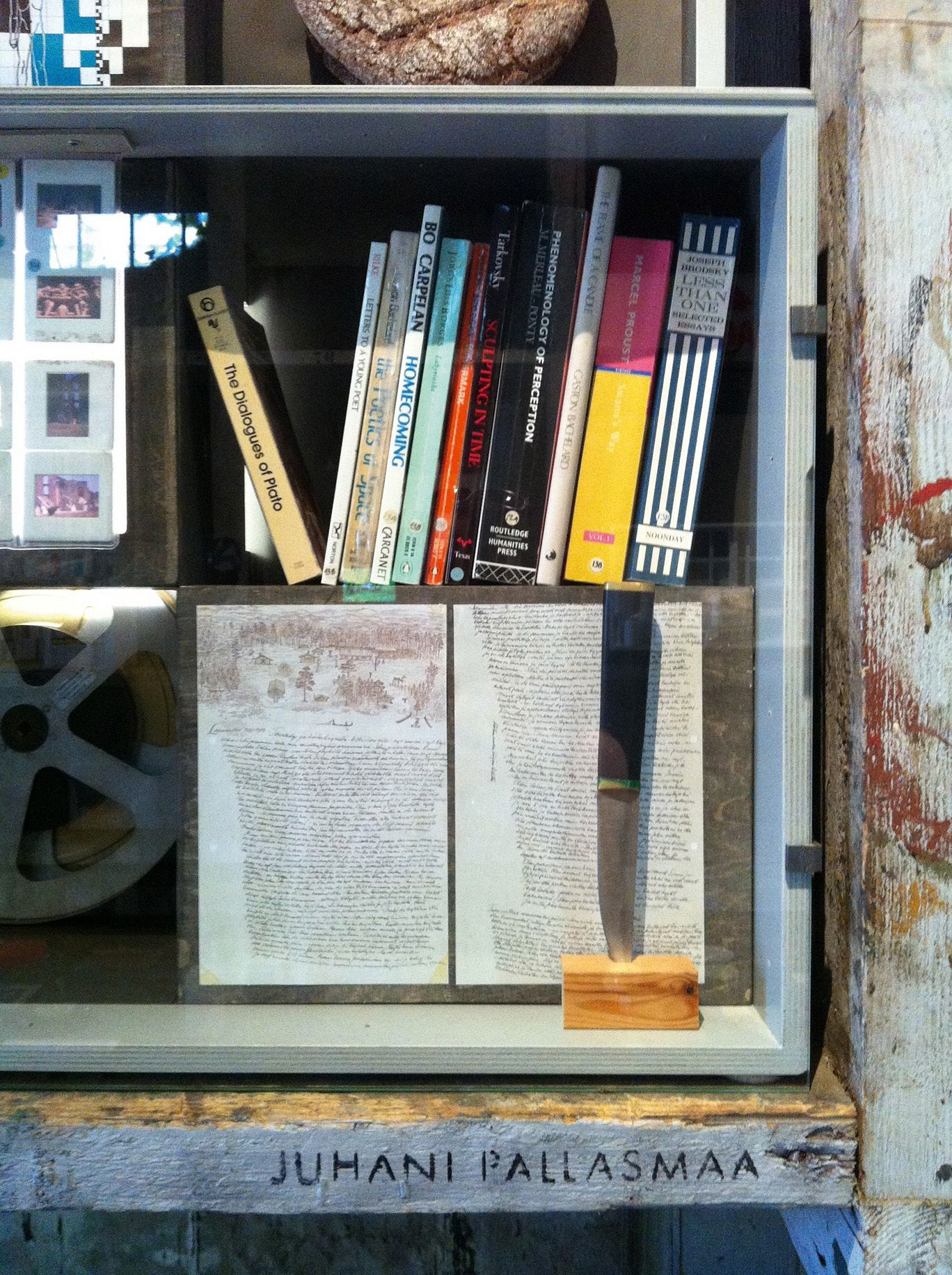 Juhani Pallasmaa. Books, pictures, films, notes... And his knife, very precious to a Finn...