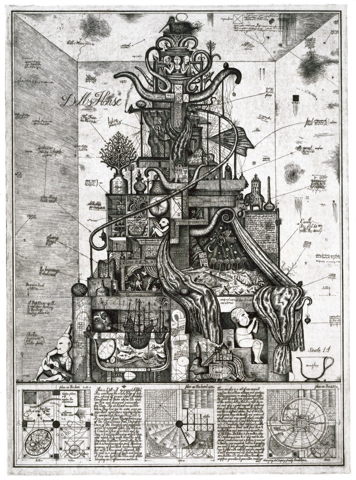 "Alexander Brodsky and Ilya Utkin: ""Doll's House"", 1990. Etching, 81 x 59 cm. From Architectural Design Competition, London, United Kingdom, 1982. Courtesy of Feldman Gallery, NY"