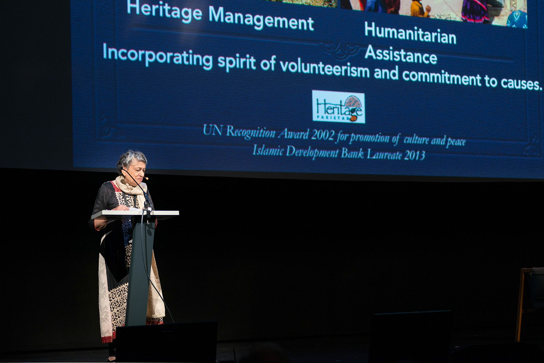 Yasmeen Lari from the Heritage Foundation of Pakistan at the triennale conference. Photo:OAT.