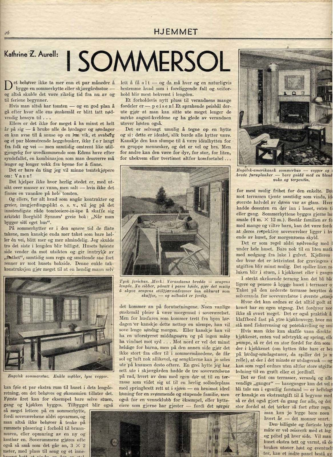 Women's weekly _Hjemmet_ with presentation of a new summer house by Ole Lind Schistad. 1937.