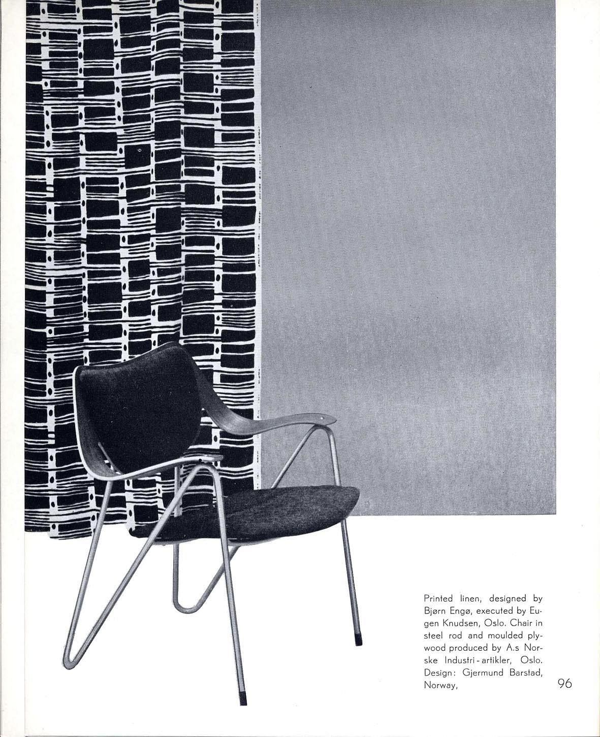 "From the catalogue of the exhibition ""Design in Scandinavia"", 1954. Fabric design by Bjørn Engø, chair by Gjermund Barstad."