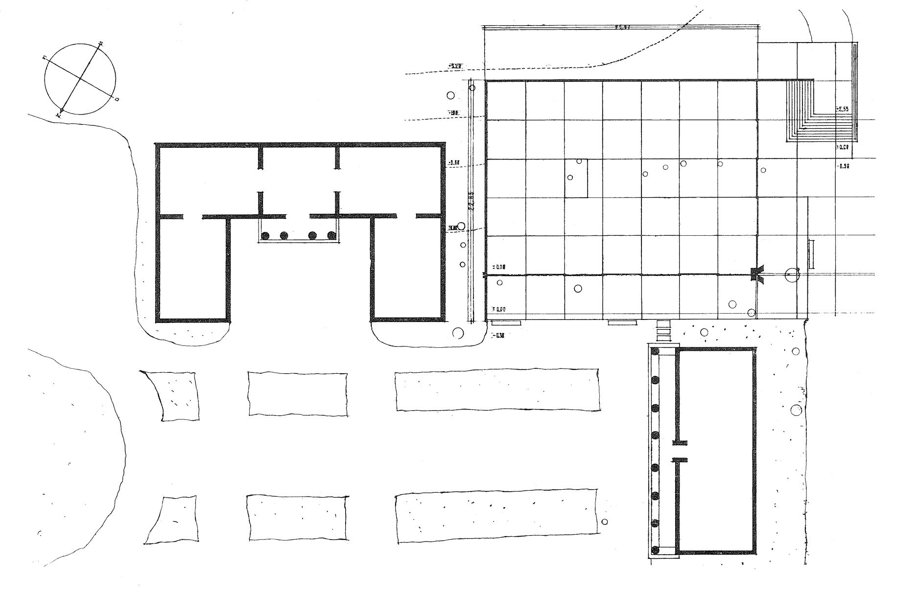 "Plan, Venice pavilion. USA's pavilion to the left. From ""Sverre Fehn – Samlede arbeider"", Orfeus forlag, 1997."