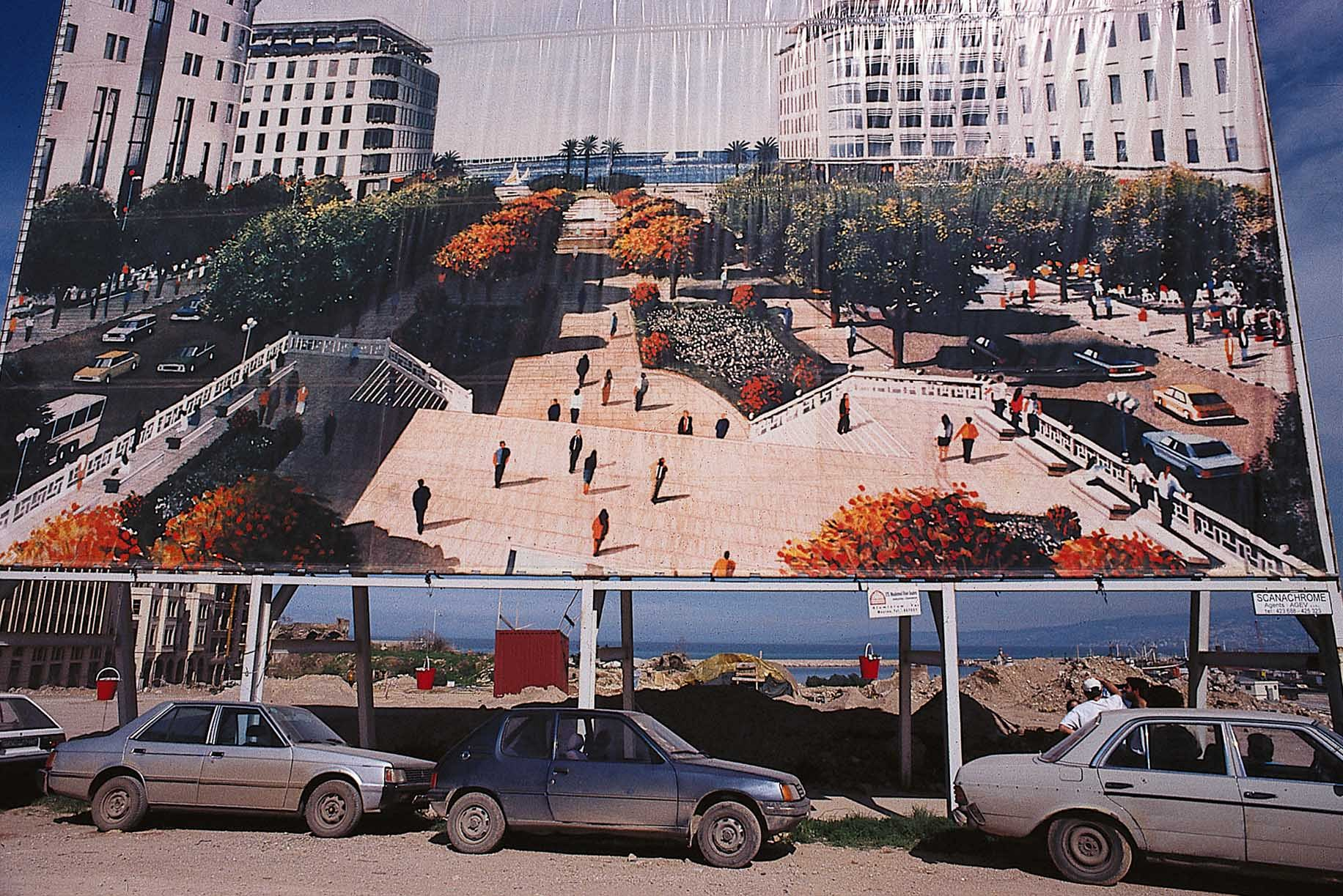 When the centre of Beirut was cleared of debris after the war, the city centre was left empty for a couple of years. The only signs of life were the archaeologists' red plastic buckets. During this time, the city centre only existed as enormous billboards carrying images of a reconstructed future. _Photo: OM._