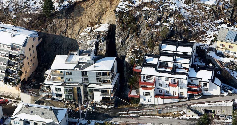 Ålesund, Norway, 2007. Catastrophic damage when the rock behind a new housing block gave way.
