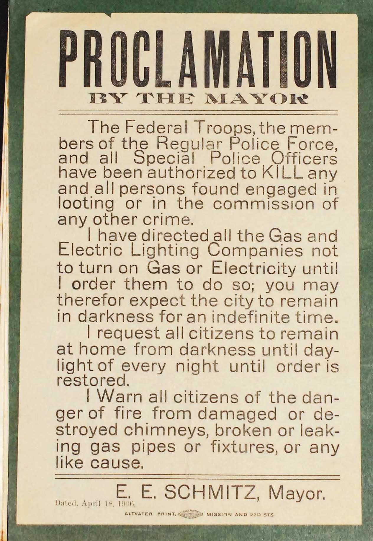 From San Fransisco 1906. After the great earthquake, soldiers and police were ordered to shoot til kill anyone caught looting or engaged in other criminal activity.