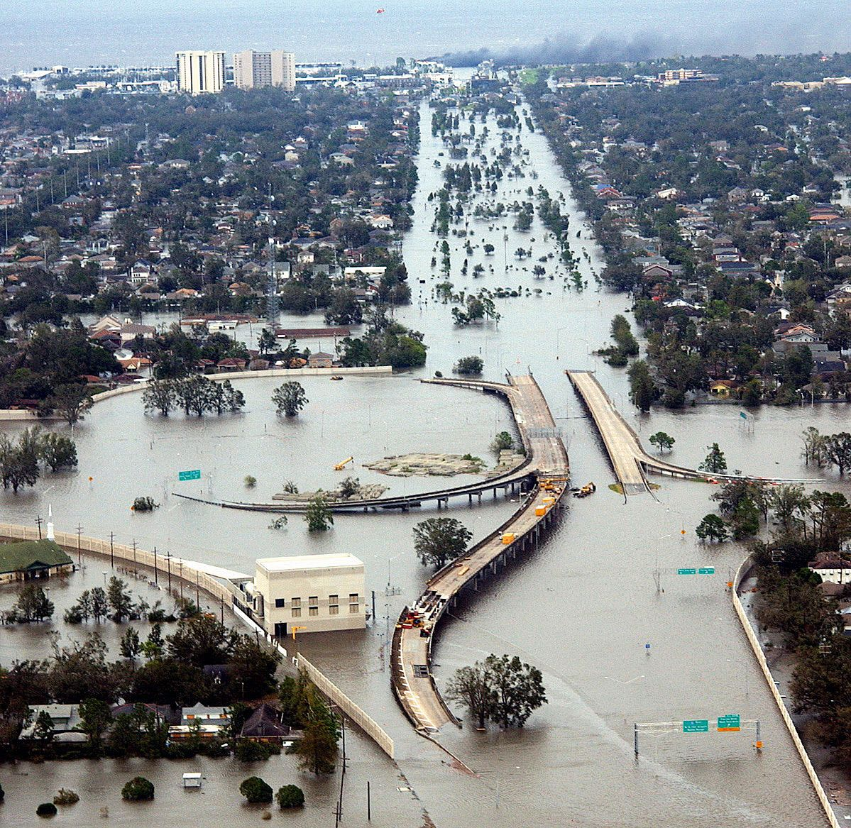 New Orleans after Hurricane Katrina, 2005.