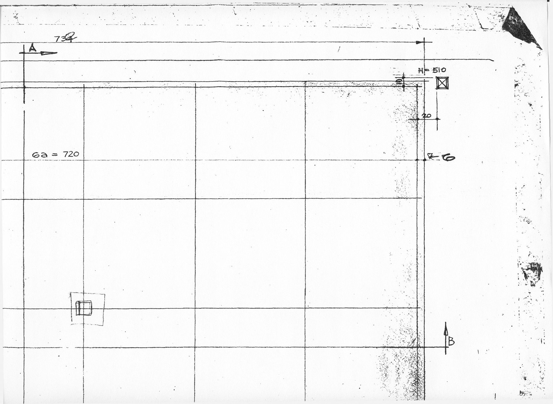 Detail of Norberg-Schulz and Korsmo's construction document set showing a hand drawn square steel column on the outside of the building's wooden envelope. The steel column would eventually be built inside.
