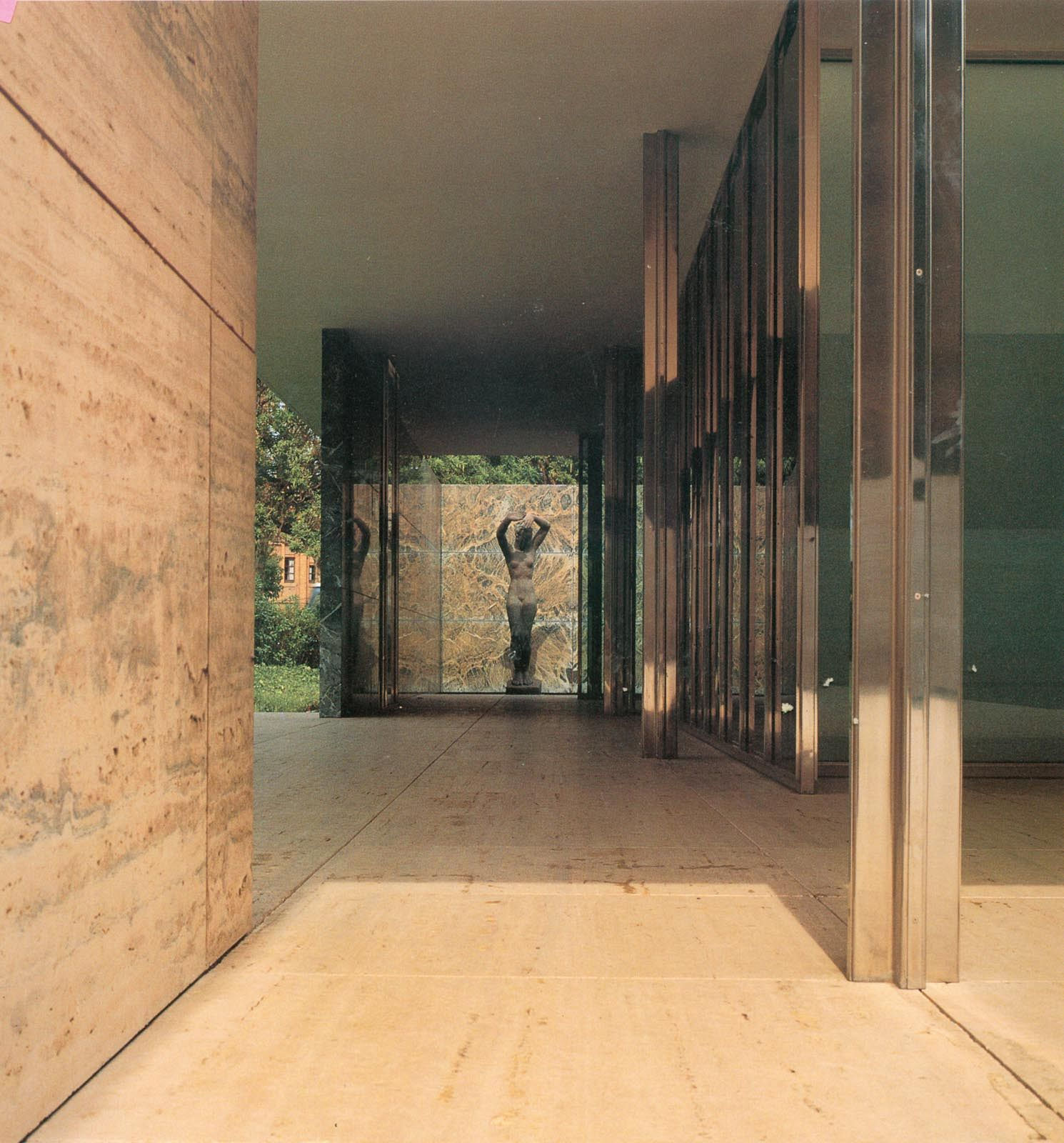 The Barcelona pavilion, 1929, with statue by Georg Kolbe. Reconstruction from 1986. Mies van der Rohe. From Solà-Morales, Cirici, Ramos: Mies van der Rohe-Barcelona Pavilion.
