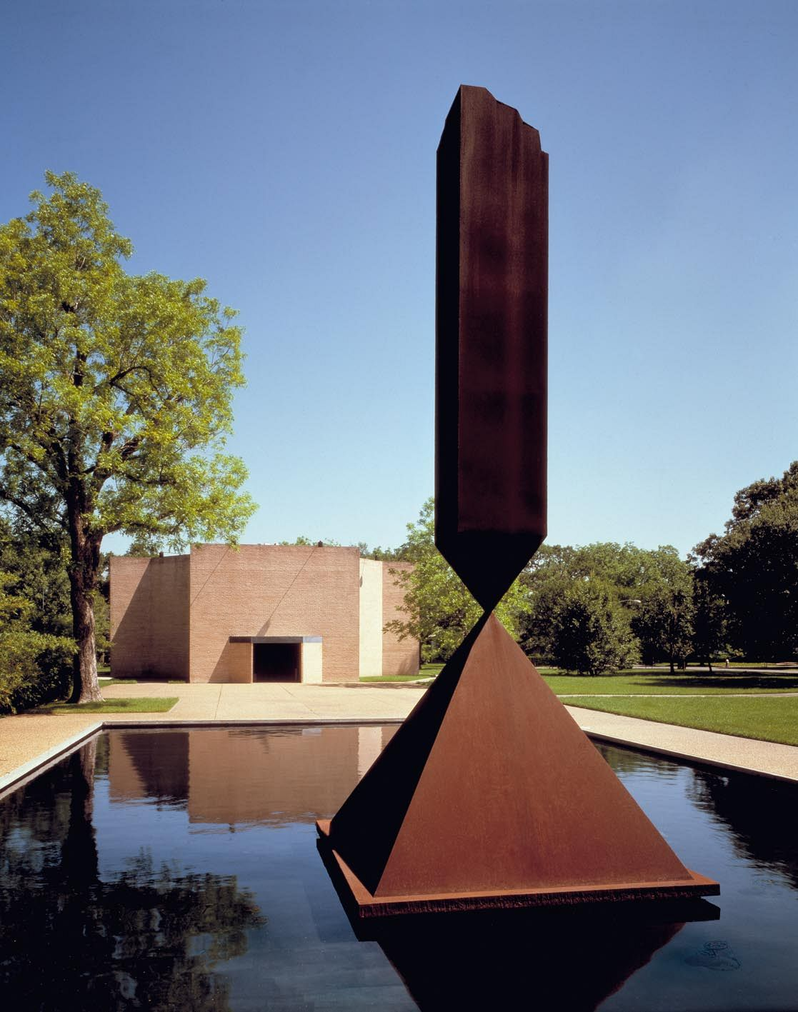 "The Rothko Chapel, exterior with Barnett Newman's sculpture ""The Broken Obelisk"". Photo: Hickey-Robertson. The Rothko Chapel, Houston"