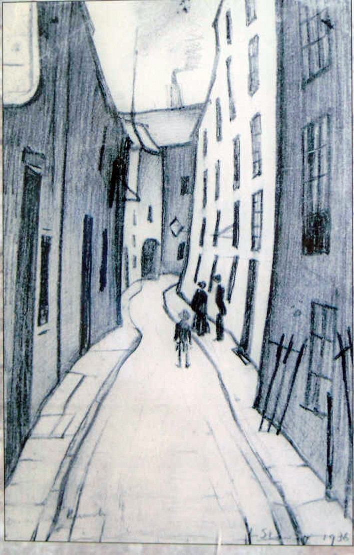 """Dewar's Lane"", pencil drawing, 1936. L.S. Lowry, 1887–1976. Photo: www.familytraits.co.uk"