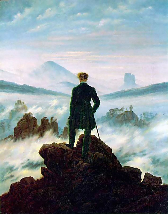 """The wanderer above the sea of fog"", 1818. Caspar David Friedrich, 1774–1840. Wikimedia"