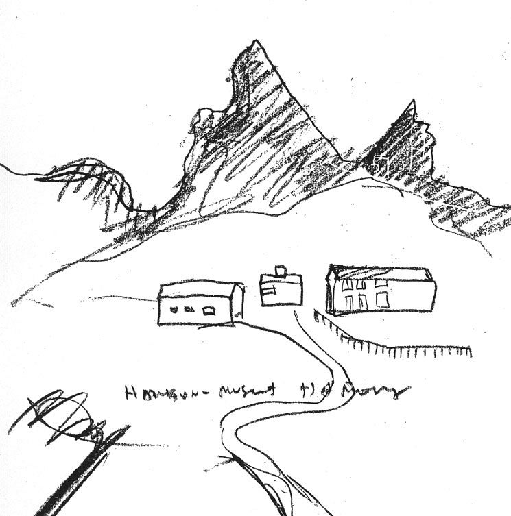 Sketch of the site at Hamarøy by Steven Holl.
