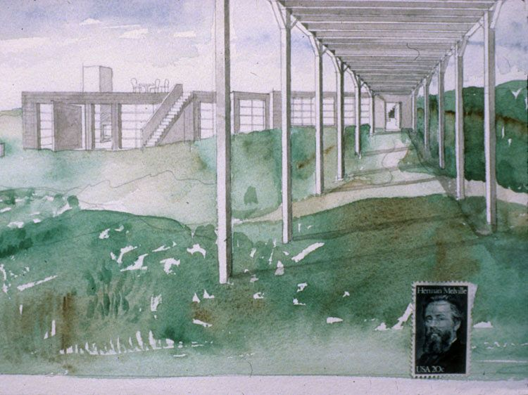 Steven Holl: House at Martha's Vineyard, 1988. Watercolour sketch.