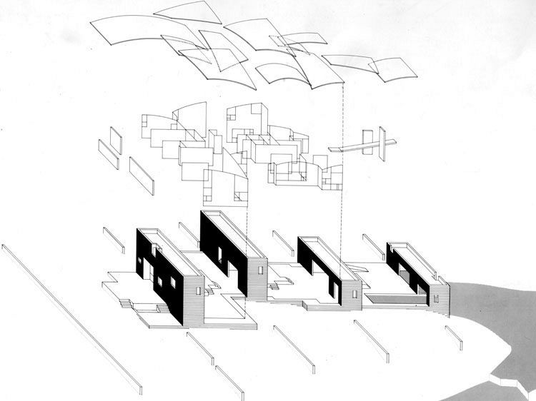 Steven Holl: Stretto House, 1991. Exploded axonometric.